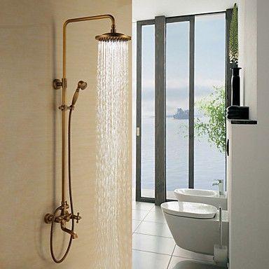 laiton antique baignoire robinet de douche avec pomme de douche 8 pouces douche main ideas. Black Bedroom Furniture Sets. Home Design Ideas
