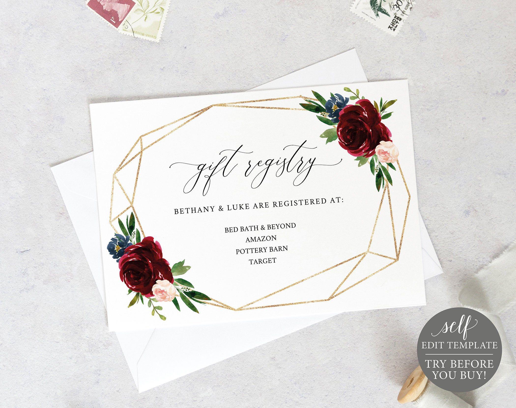 Wedding Registry Card Template, Printable Editable Instant