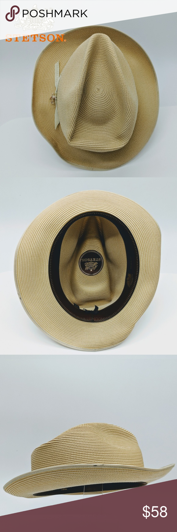 STETSON Stratoliner Florentine Milan straw Fedora This iconic stratoliner  features a tear drop crown and is 402884aca8b