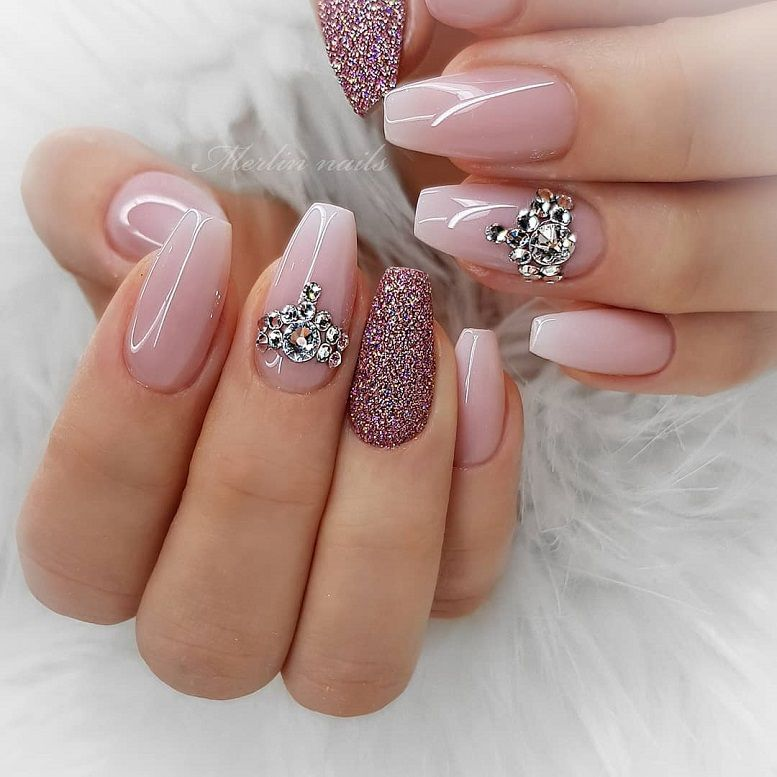 Ombre pink and mauve + glitter nail art design 1