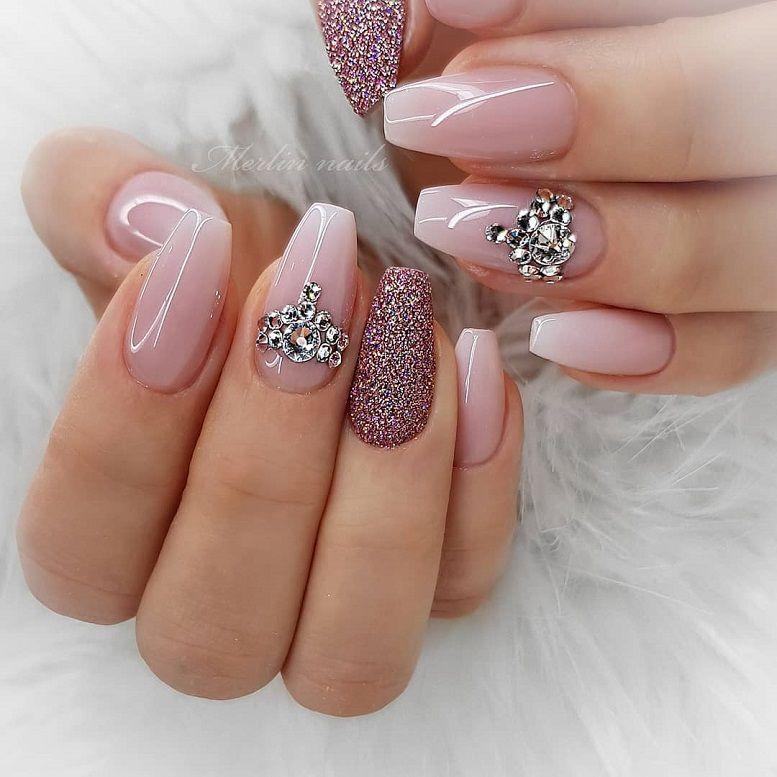 59 Beautiful Nail Art Design To Try This Season - long coffin nails , glitter nails, mixmatched nail art ,nail colors, marble nail art , nail polis, nude nails
