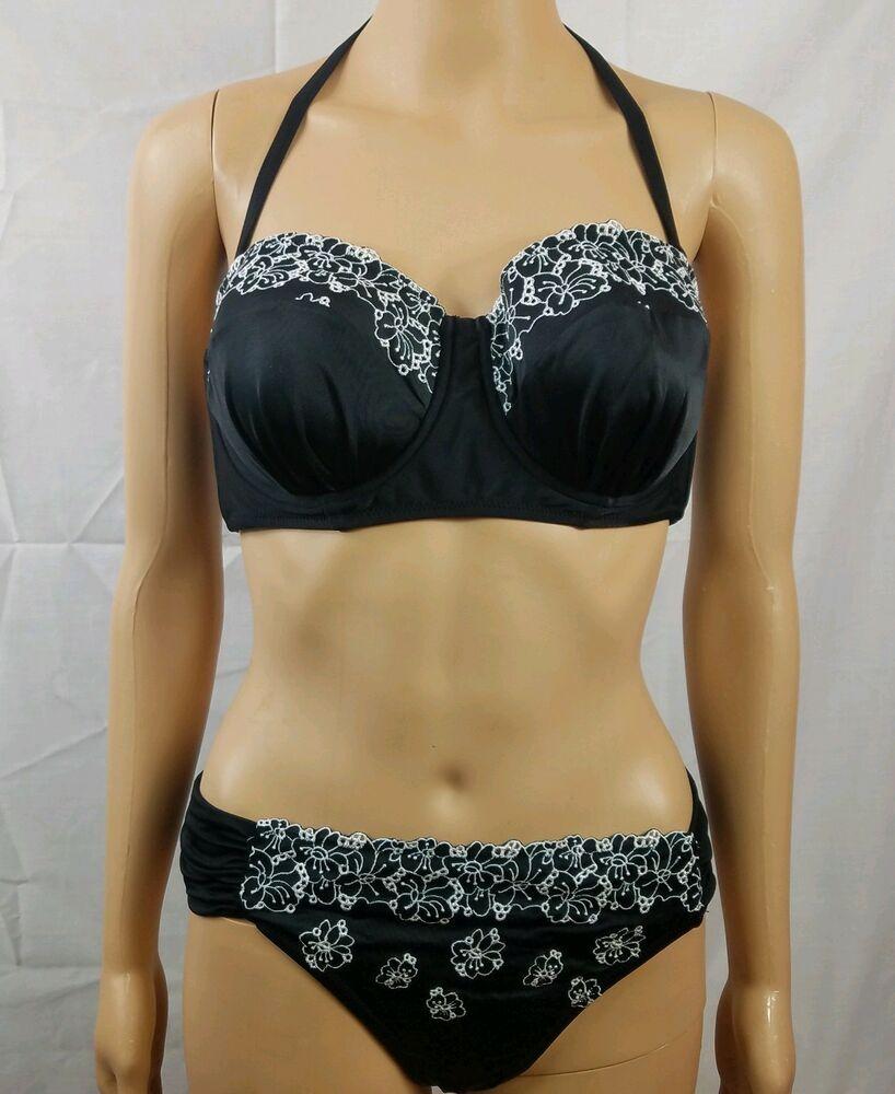 e63fe76d7d Profile Blush Swimsuit Black Bikini White Floral Embroidery Gottex D Cup  Size L