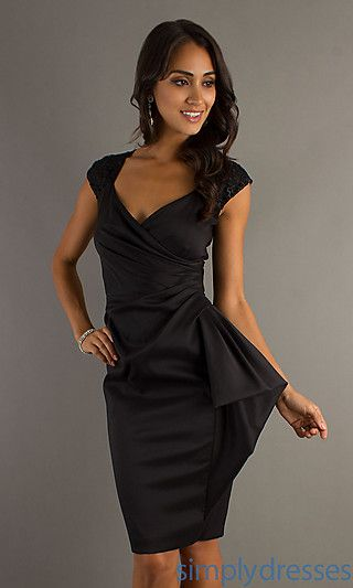 75219a6c542 Knee Length Black Cocktail Dress at PromGirl.com It has lace embellishments  on the back side