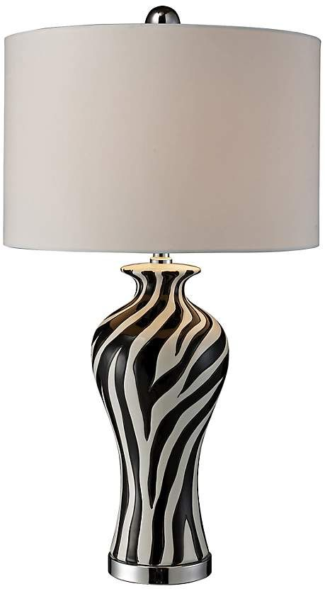 This Striking Zebra Print Ceramic Table Lamp From Delivers Rich