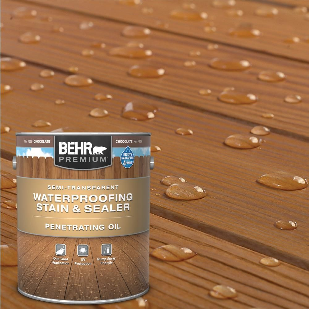 Behr Premium 1 Gal St 129 Chocolate Semi Transparent Penetrating Oil Based Exterior Waterproofing Wood Stain In 2020 Exterior Wood Stain Staining Wood Staining Deck