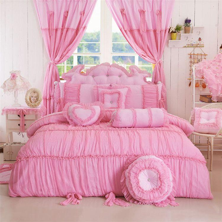 Bedding Solid Color Princess Bedding Sets Meninas Twin ...