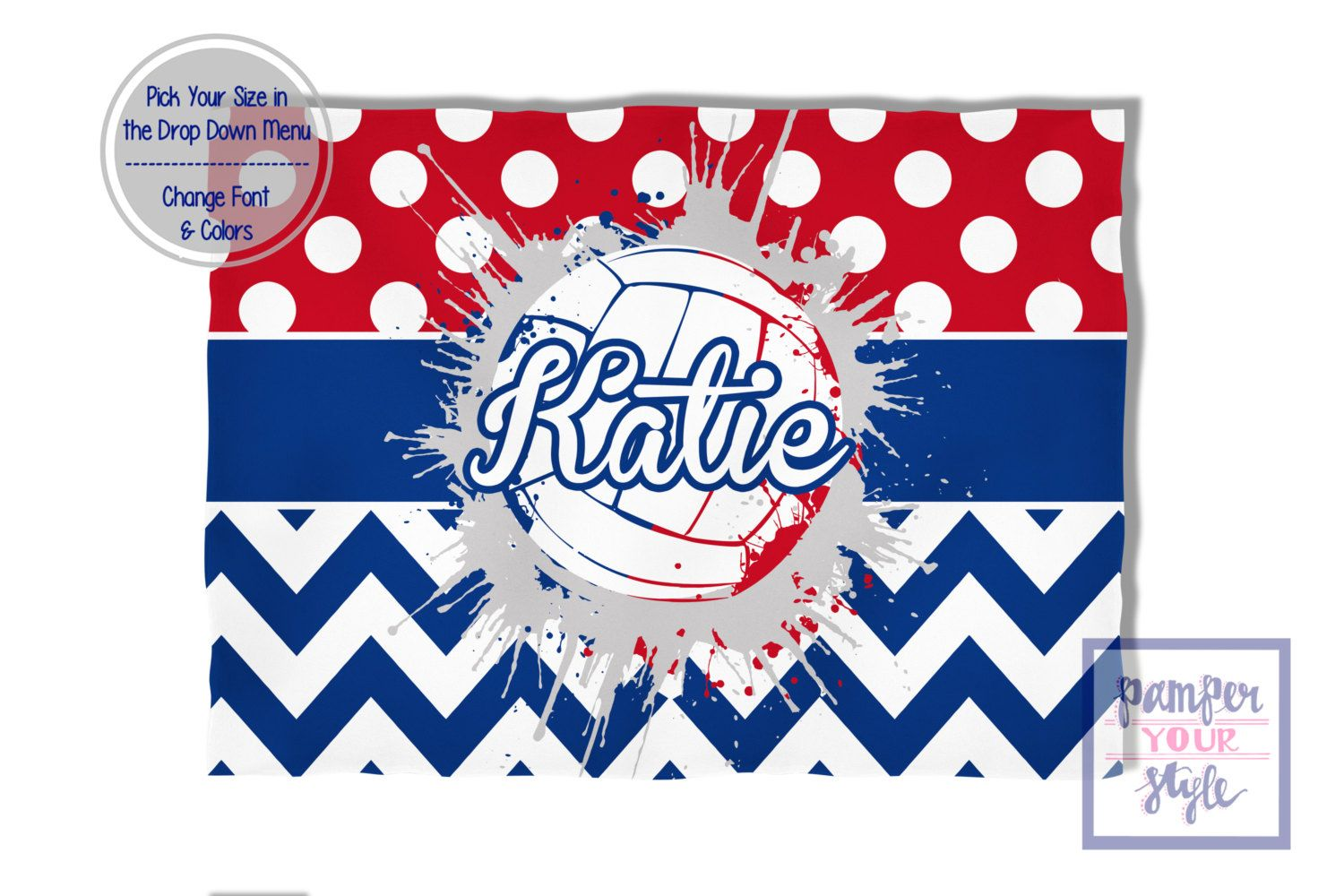 Volleyball Blanket Red White And Blue Spirit Blanket Personalized Custom Volleyball Blanket Custom Volleyball Blanket Blanket Red White Volleyball