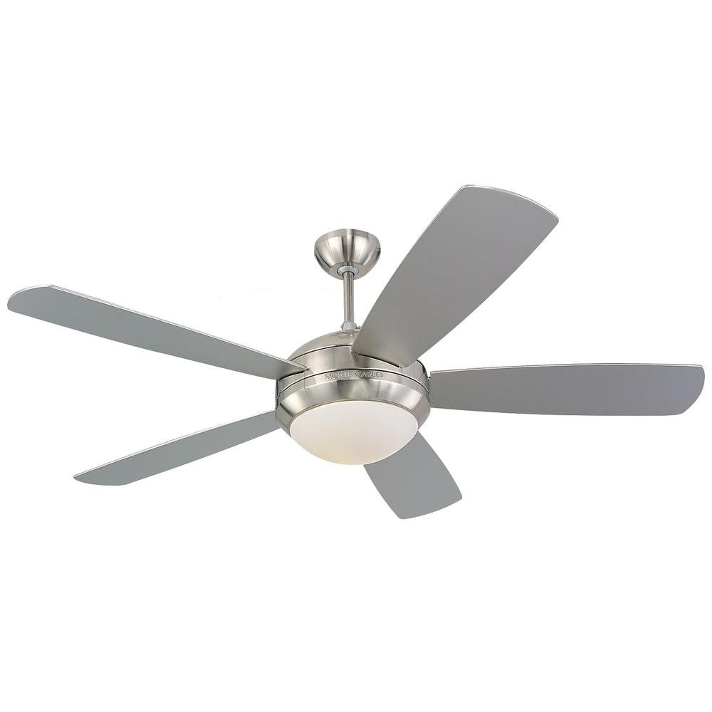Monte carlo discus in brushed steel silver ceiling fan design
