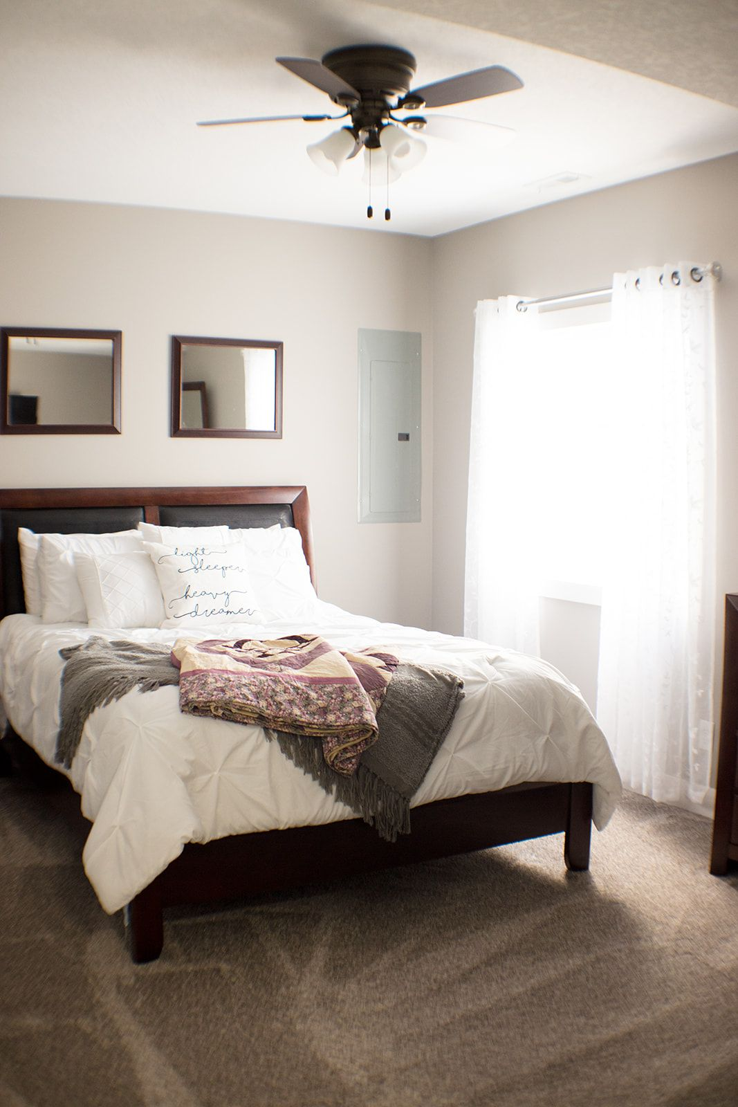 Guest Room Ideas Simple And Traditional Dark Wood Bed Frame With White Farmhouse Style Bedding And Comforter Dark Wood Bed Frame Wood Bed Frame Wood Bed Set