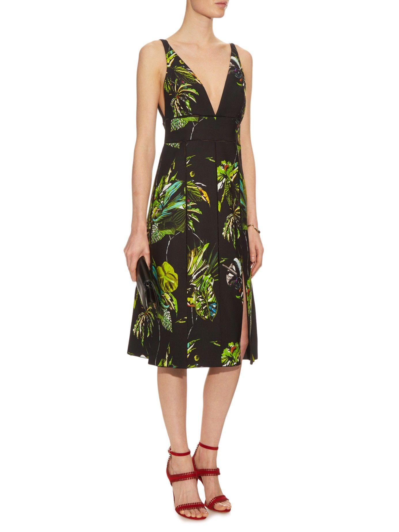 Tropical-print cut-out dress Proenza Schouler 152n4WQXyA