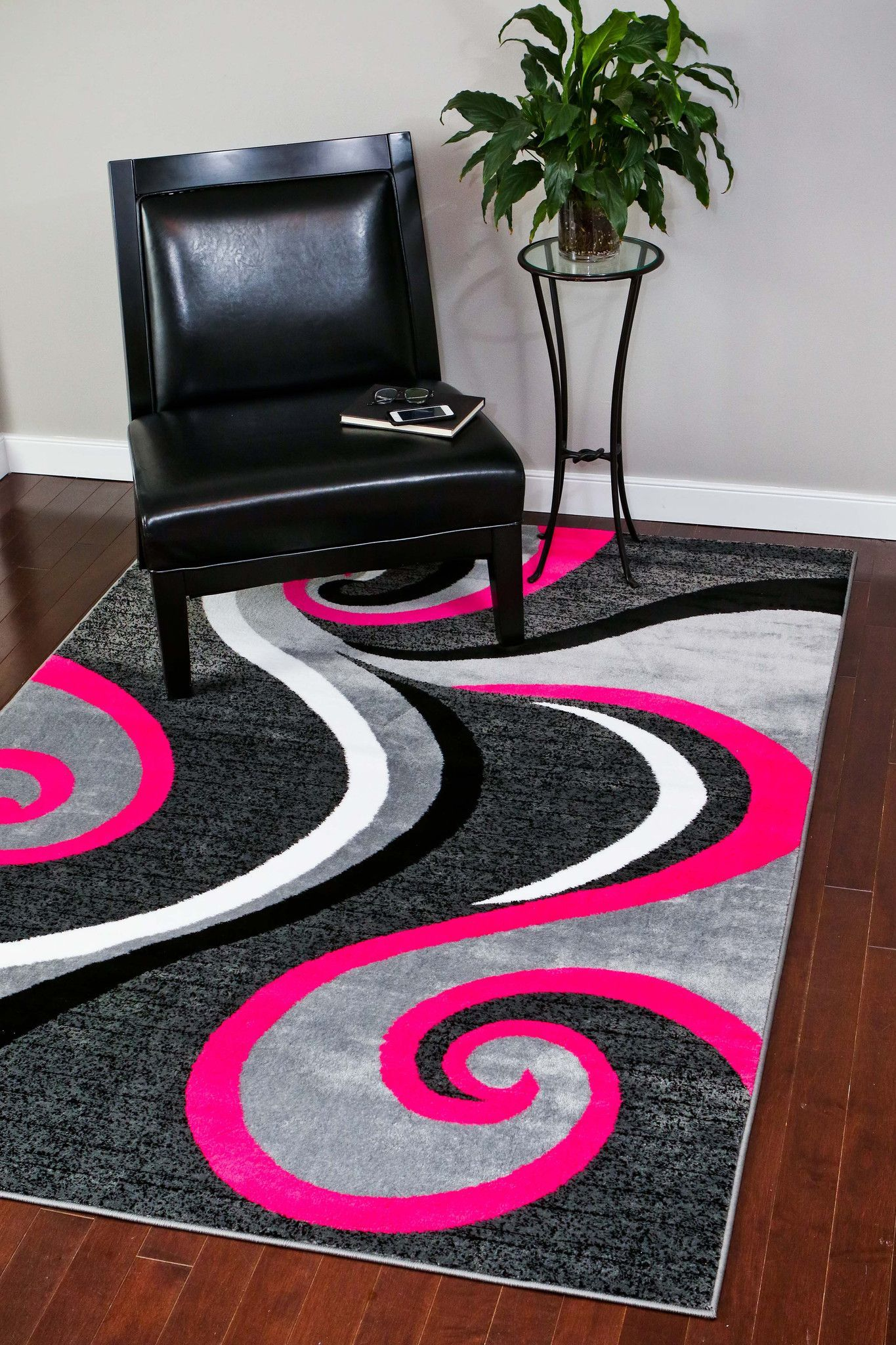 Pink Gray Abstract Design Modern Contemporary Area Rugs Bargain