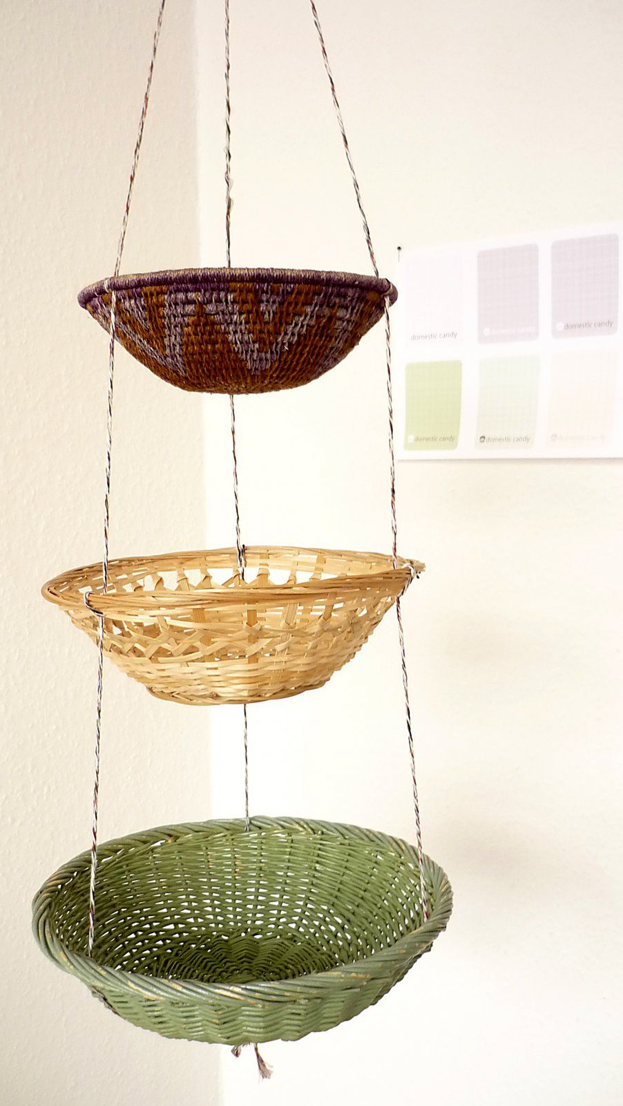 Baskets Strung Together And Hung Need This For My Kitchen