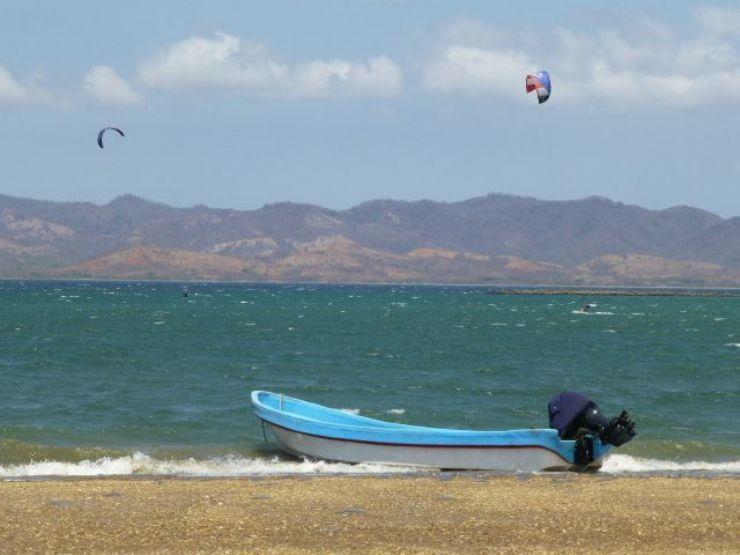 Boat with WindSurfers in Bahia Salinas