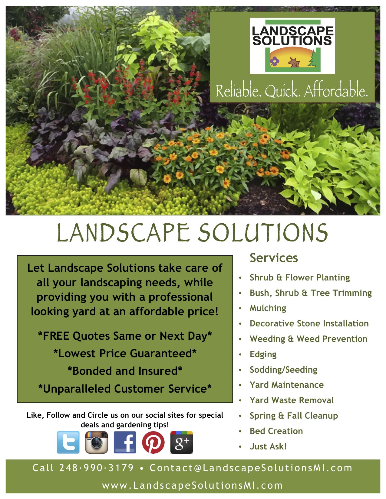 New Flyers For Landscape Solutions Going Around This 400 x 300
