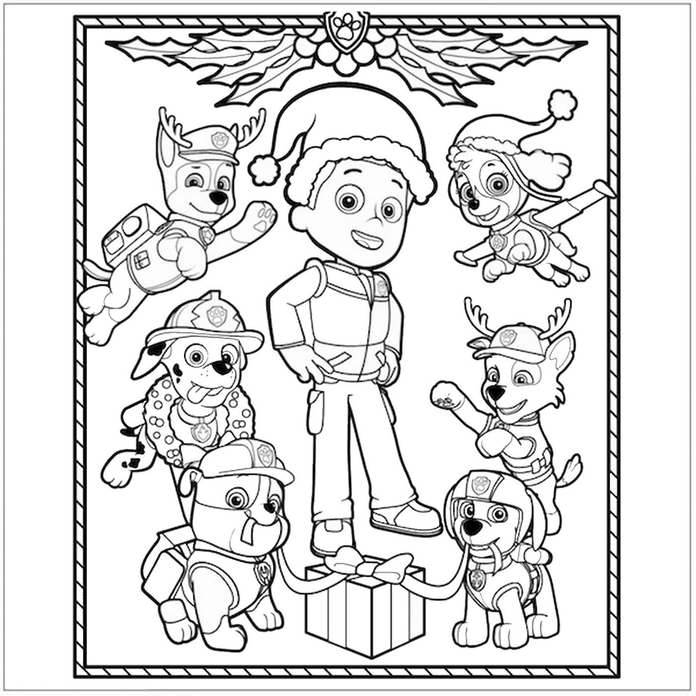 Paw patrol coloring pages christmas - Paw Patrol Christmas Coloring Page More