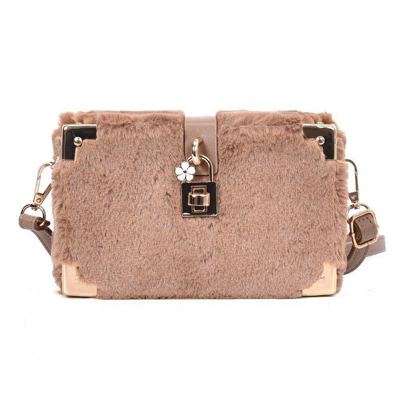 f710d5456b  RoseGal -  Rosewholesale Fur Artificial Decoration Box Shape Shoulder Bag  for Women - AdoreWe