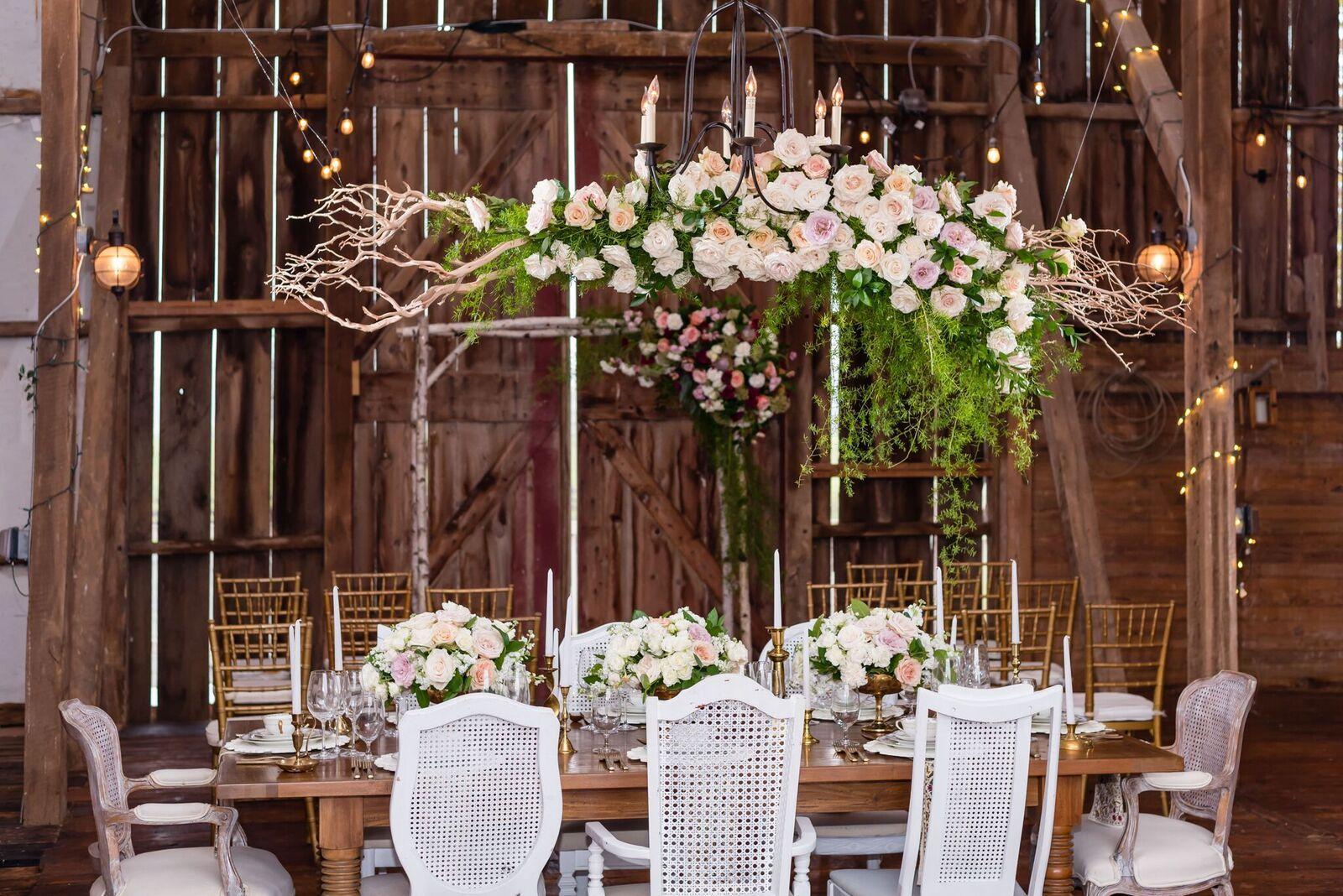 Barn Wedding Rustic Chic Table Setting Vintage Hanging Flowers