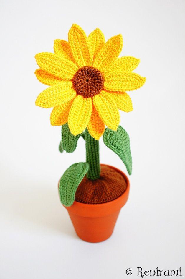 Häkelanleitung: Sonnenblume für die sommerliche Deko / crocheting ...