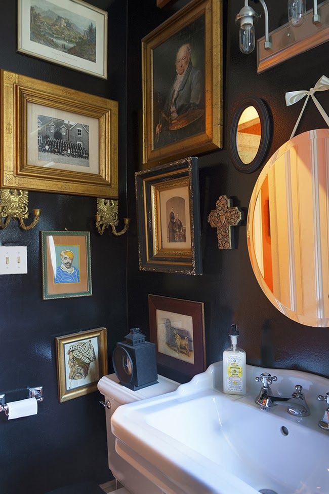 Juan Carretero's Hudson Residence Small Bathroom Dark Walls Art Fascinating Small Bathroom Wall Art Decorating Design