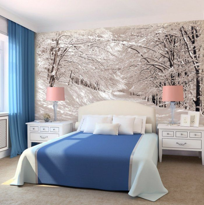 Winter-Landschaft-Wandgestaltung-Schlafzimmerjpg DIY Home - wandgestaltung ideen schlafzimmer