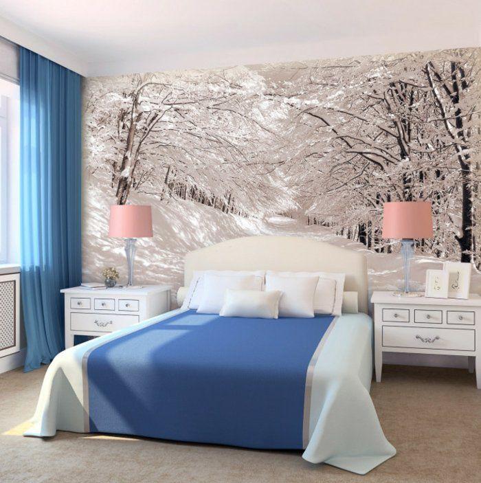 ordinary schlafzimmer wandbemalung #1: Winter-Landschaft-Wandgestaltung-Schlafzimmer.jpg · Wandgestaltung  SchlafzimmerWandbemalungWandgestaltung ...