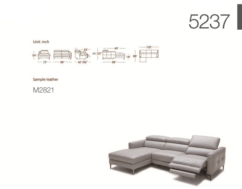 Divani Casa Booth Modern Light Grey Leather Sectional Sofa W