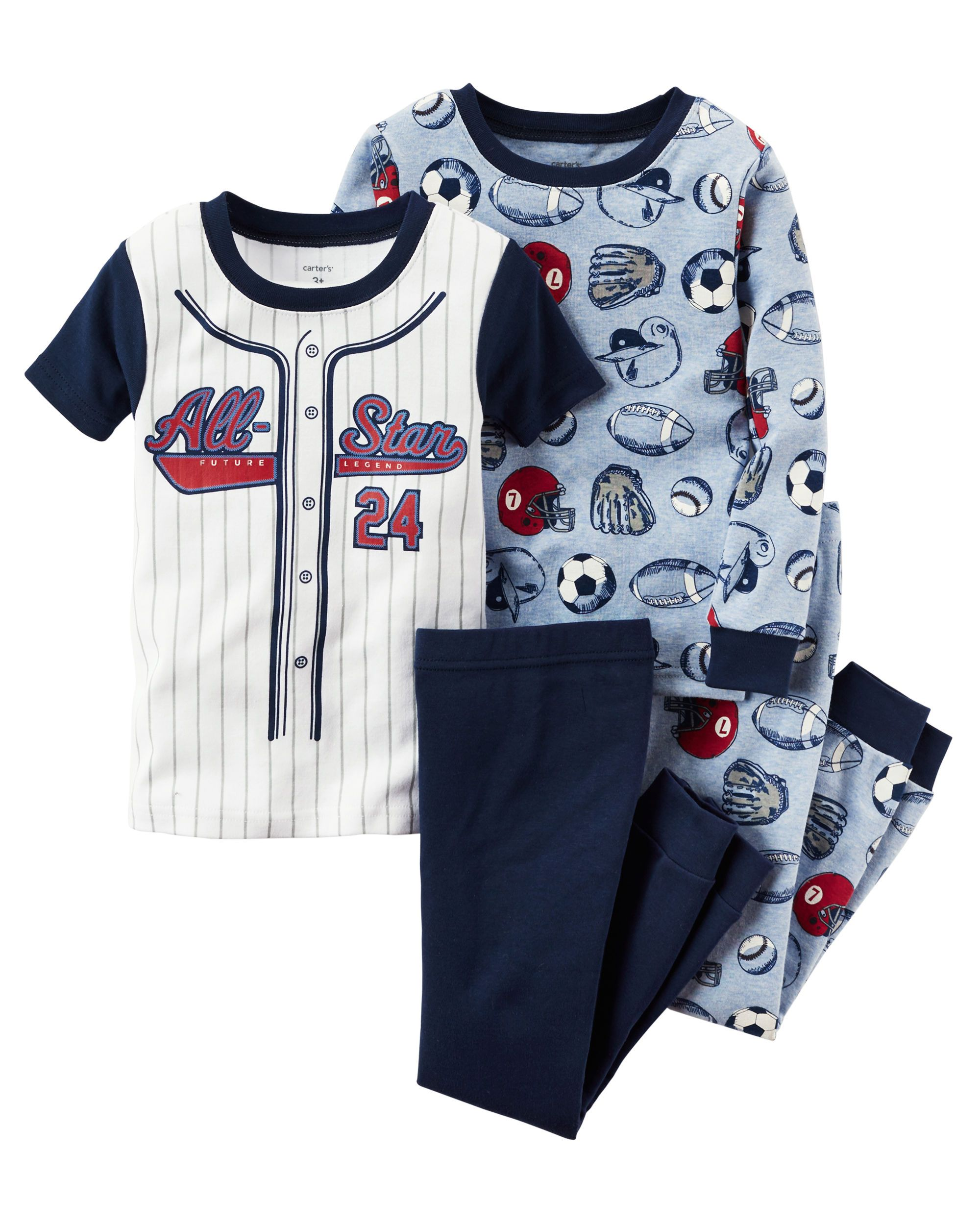 ff39e57ff8fb Toddler Boy 4-Piece Snug Fit Cotton PJs