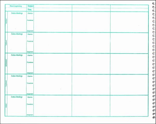 Weekly Lesson Plan Book 7 Period Format Additional Photo Inside