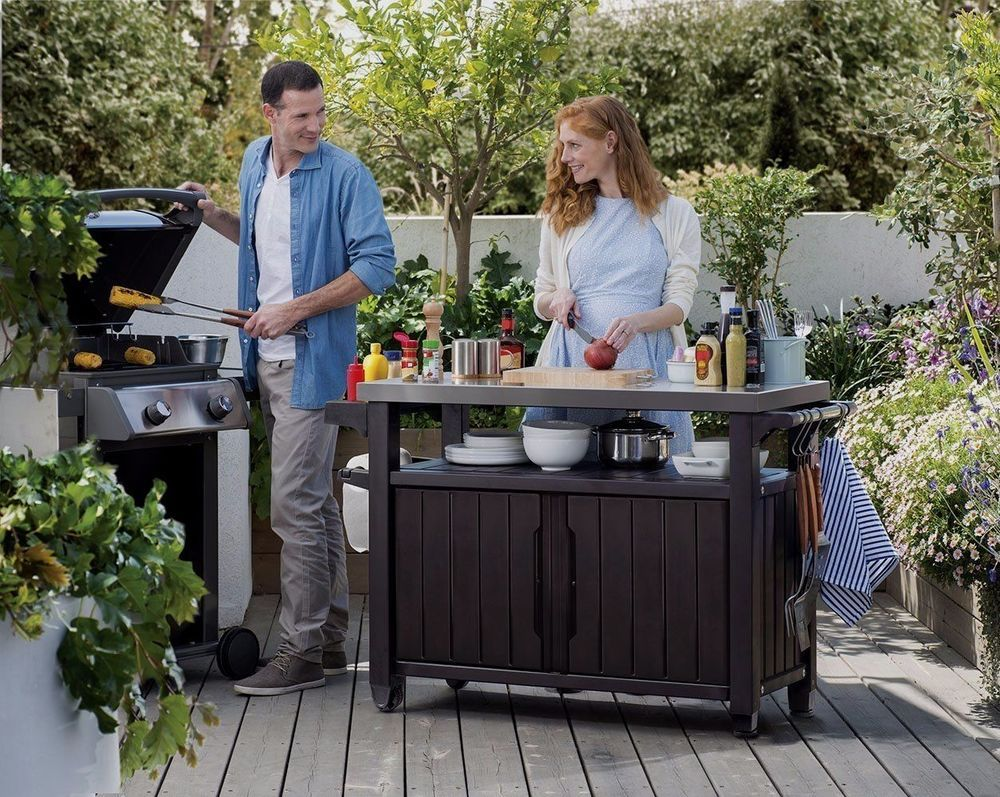 Outdoor Patio Food Prep Station Grill Serving Cart BBQ Storage Rolling  Table #Keter