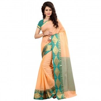 Cotton Silk Peach & Green Saree - 524squa