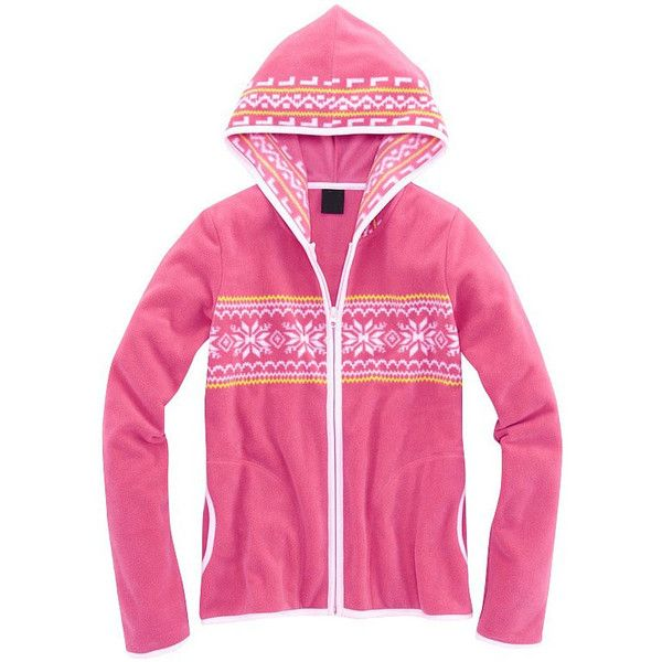 Rose Pink Single Row Positioning Snowflake Hooded Cardigan... ($40) via Polyvore