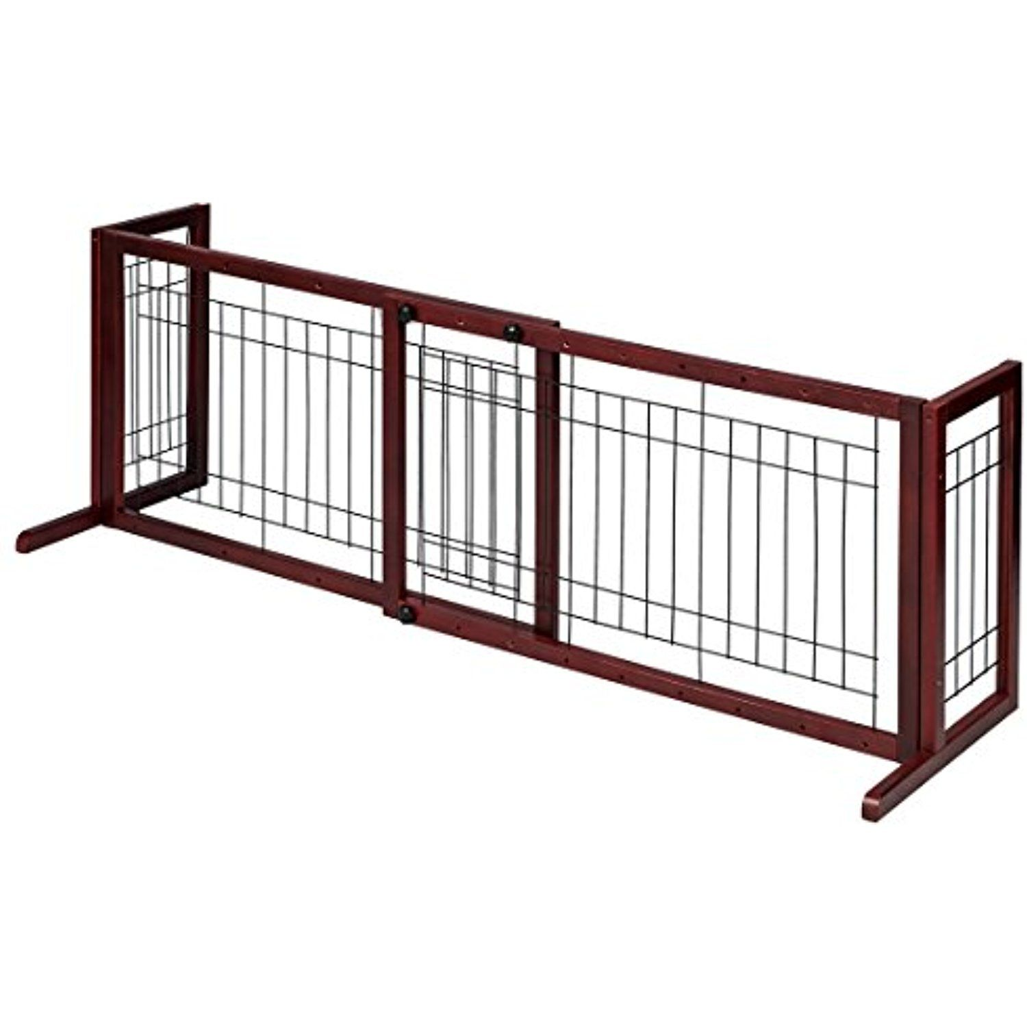 GOOD LIFE Wooden Fence Freestanding Pet Dog Gate Indoor Adjustable Gates  For Home Coffee Color 72 Inch PET344 ** Check This Awesome Product By Going  To The ...