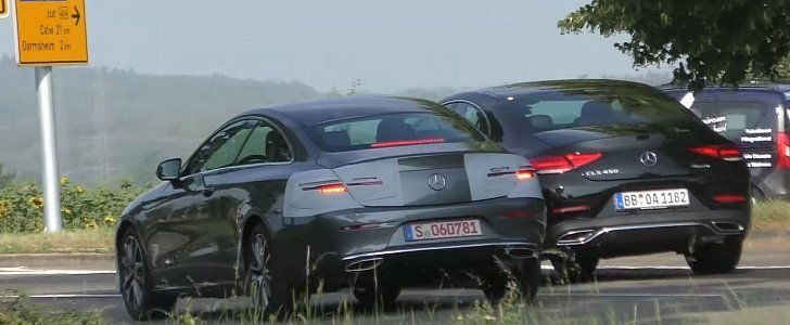2021 eclass coupe facelift spied next to cls makes for