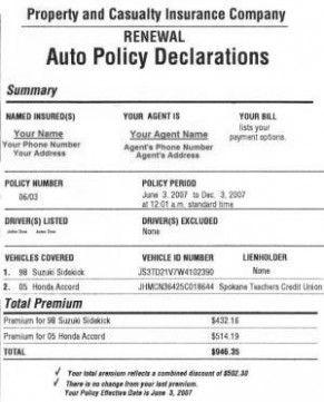 Template Progressive Insurance Declaration Page Five Easy ...