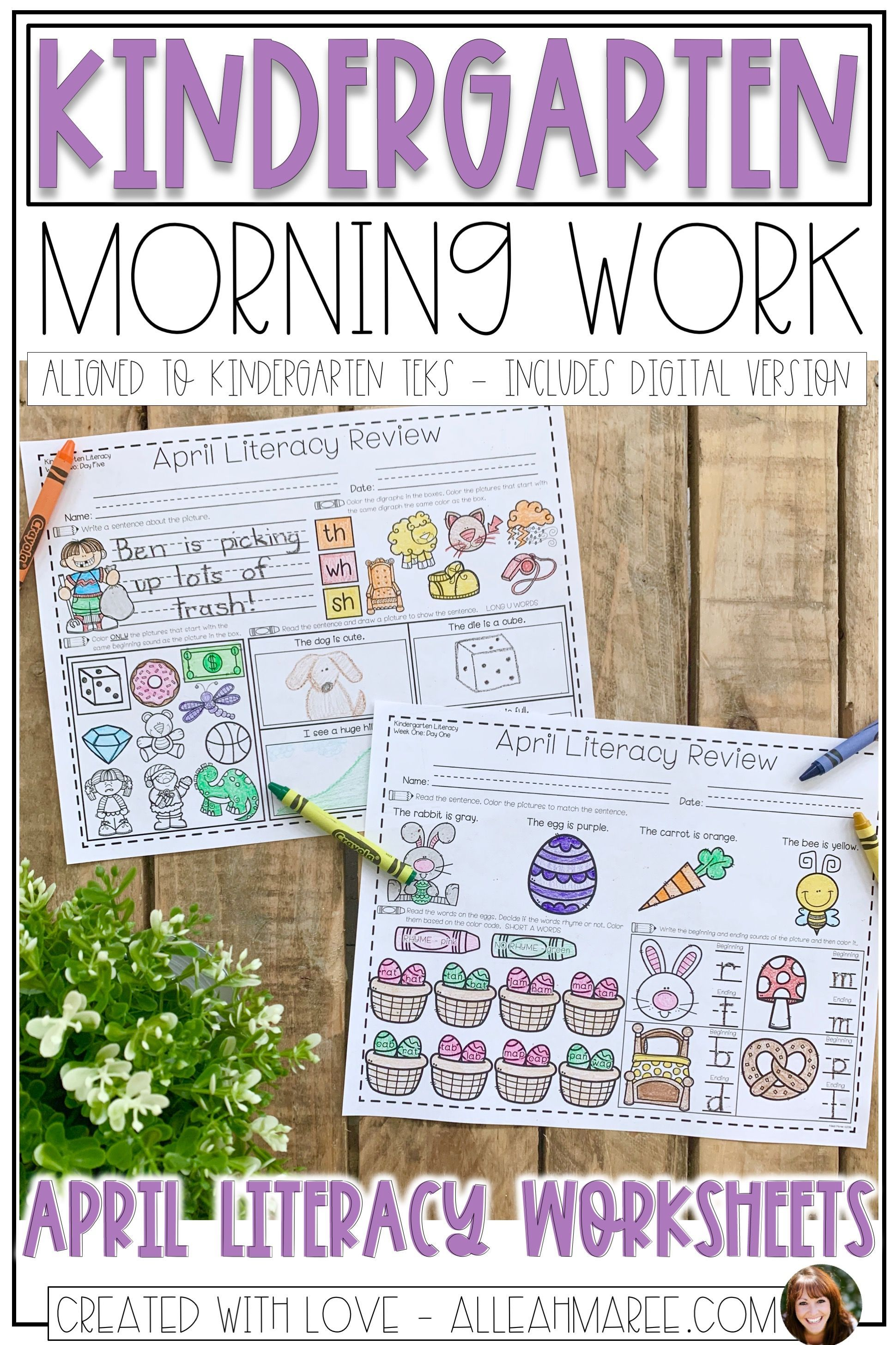 Kindergarten Morning Work Literacy Worksheets And