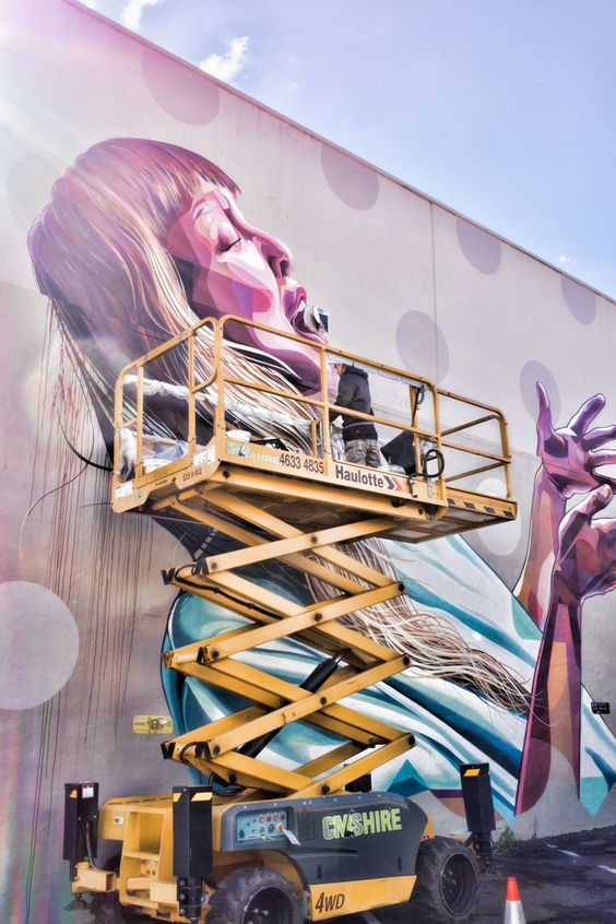 Designs underway at Toowoomba street art festival in Queensland Australia