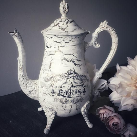 White shabby chic crackle painted silver plated antique teapot Paris Flea market French script French decor  White shabby chic crackle painted silver plated antique teapo...