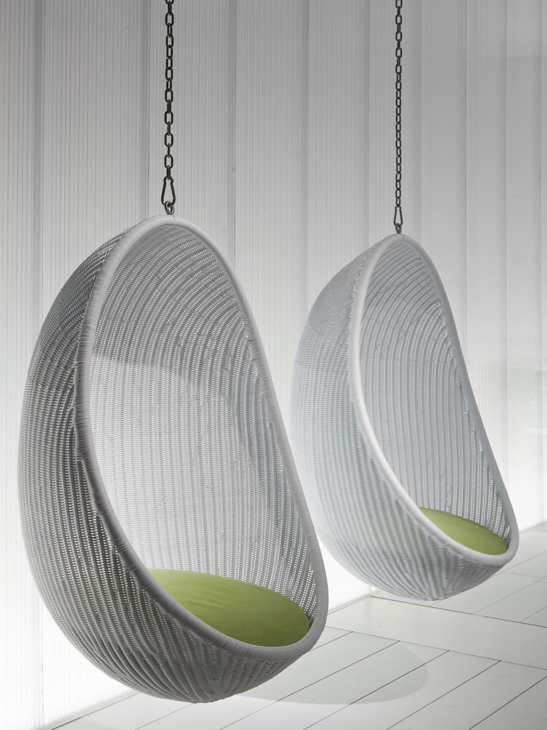 Etonnant Furniture: Nice Looking White Woven Rattan Two Hanging Egg Chair With White  Wooden Wall Panels As Decorate Classy Veranda Furnishing Designs. Indoor  Hanging ...