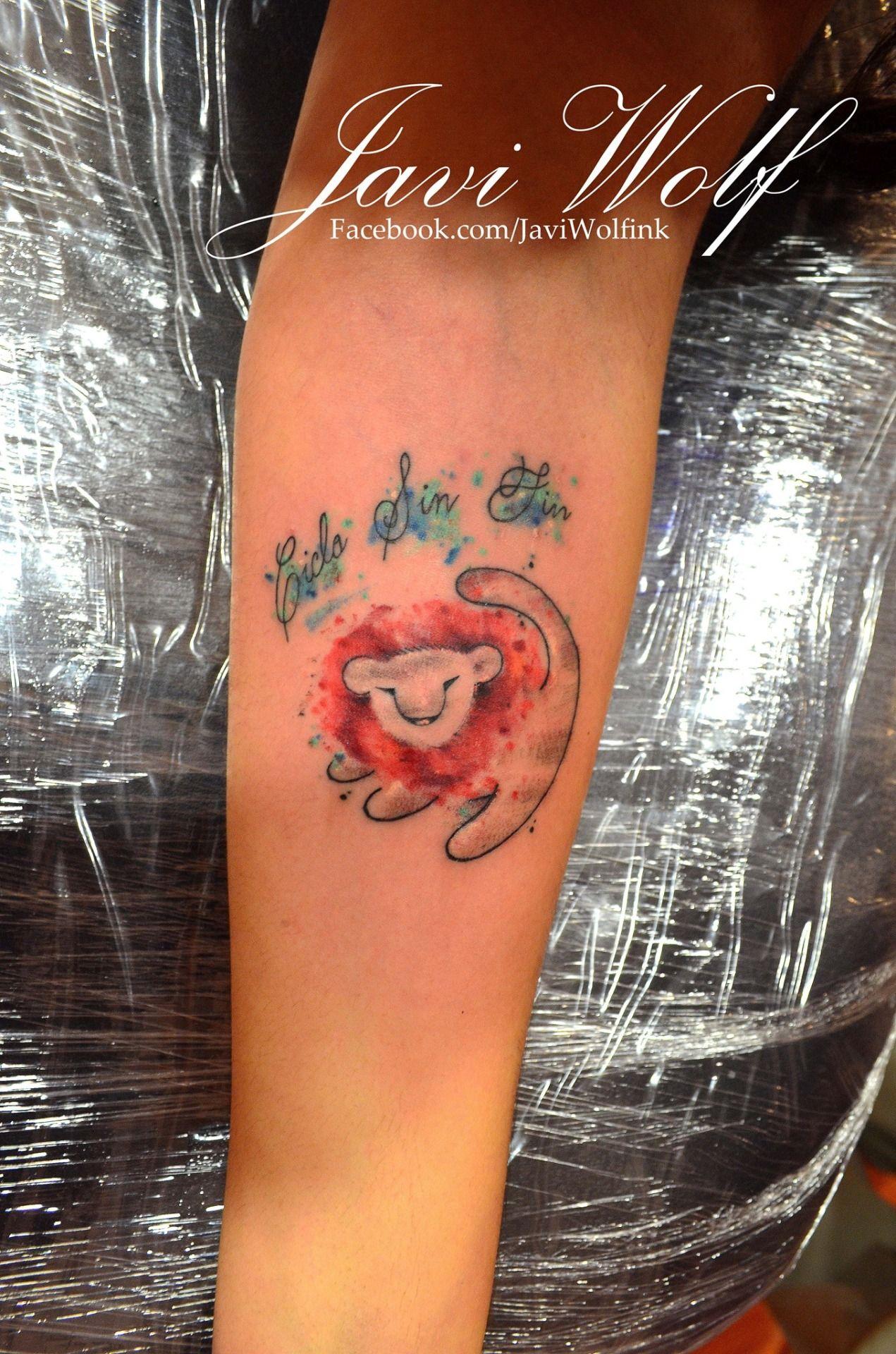 e4e78496c87eb Watercolor Simba Tattoo. Tattooed by @javiwolfink | COOL TATS ...