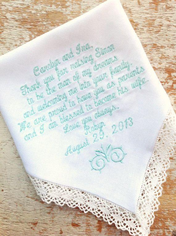 Mom From Bride Wedding Heirloom Handkerchief By Heirloomweddings 30 00