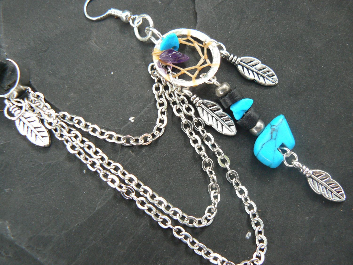 ONE turquoise zuni bear dreamcatcher chained ear cuff turquoise and amethyst cuff in boho gypsy hippie hipster tribal style