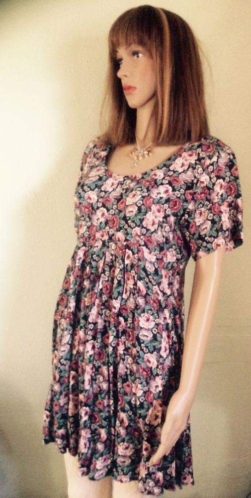 All That Jazz Flora Vintage Dress Size 9 10 Black Green Burgandy Pink White Allthatjazz