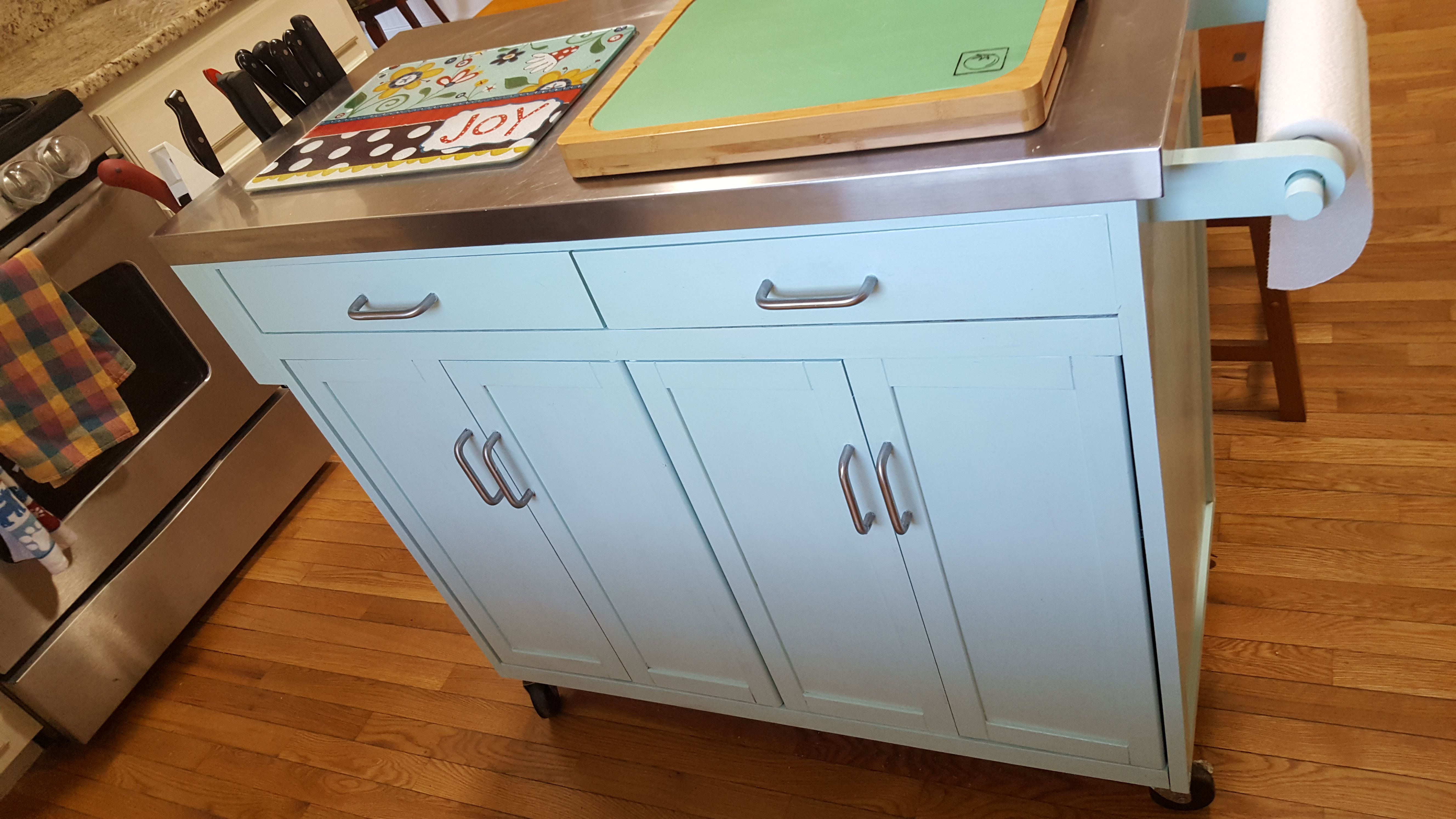 Painted Bamboo (mobile) kitchen island (Valspar Mystic Green) & one ...