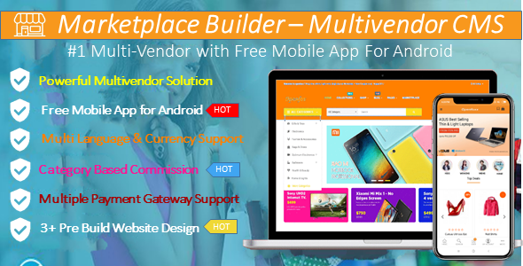 Marketplace Builder Multi - Vendor CMS with #Android App