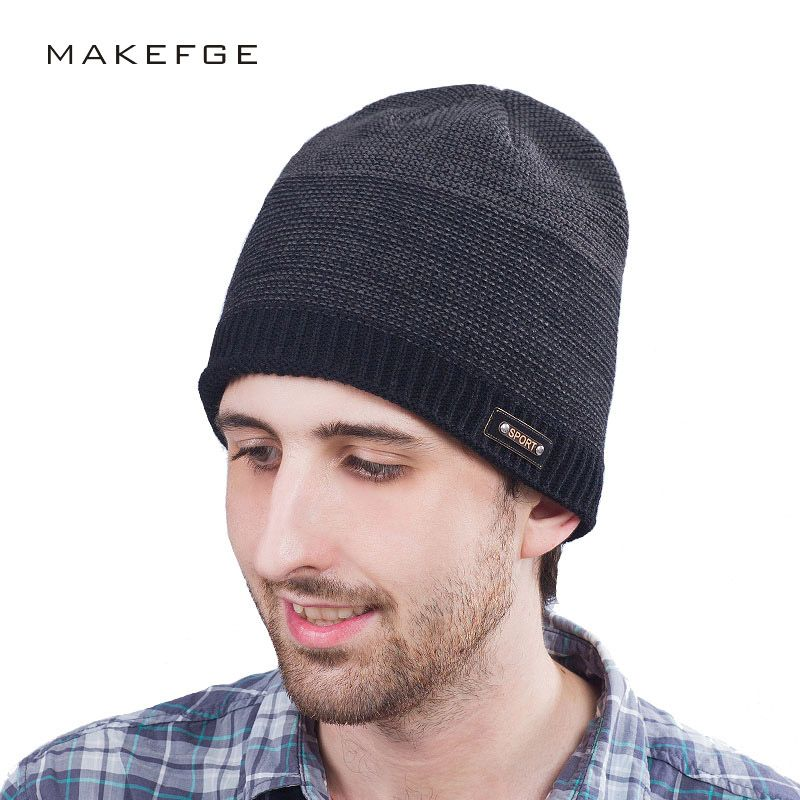 d768f79c5df Mens winter sport cap Beanie knitted Cap Knit Hat For Men Winter Cap Mixed  Skullies Labeling