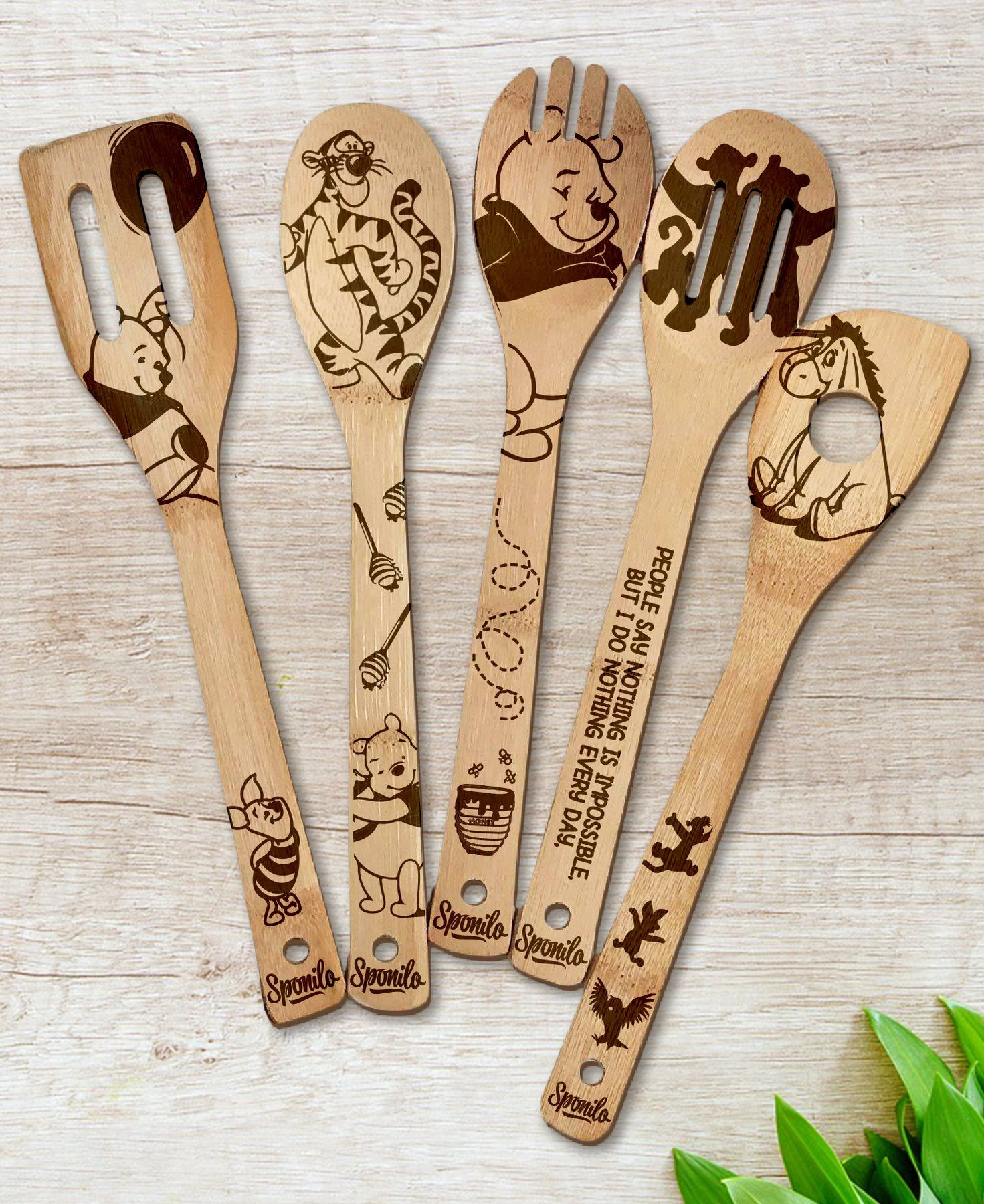 bf422b590a5e0 Winnie-the-Pooh Wood-burned Spoons Set | Disney Dreaming | Wooden ...