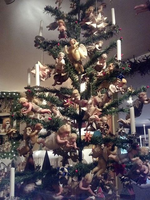 antique christmas feather tree with wax angels from the golden glow of christmas past convention - Golden Glow Of Christmas Past