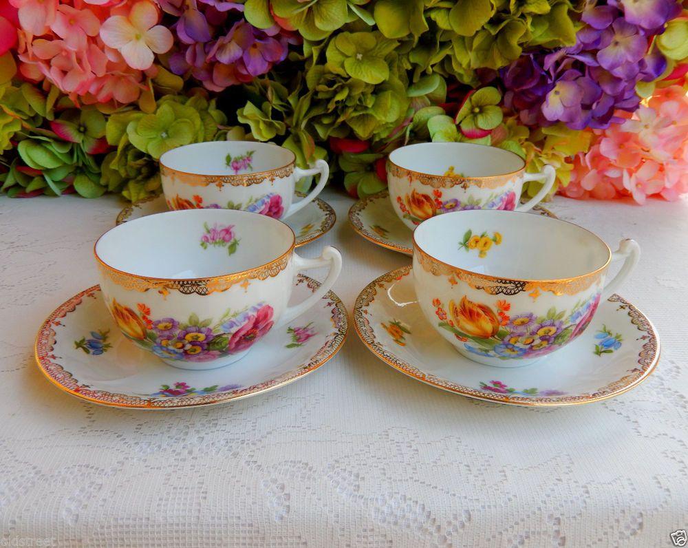 4 Beautiful Vintage Gutherz Czech Porcelain Cups Saucers Dresden Flowers ~ Gold #GutherzCzechEPIAG & 4 Beautiful Vintage Gutherz Czech Porcelain Cups Saucers Dresden ...
