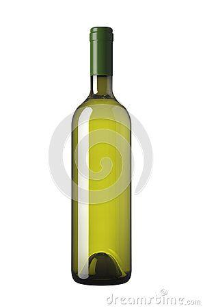 Green bottle of white wine, isolated on white background.