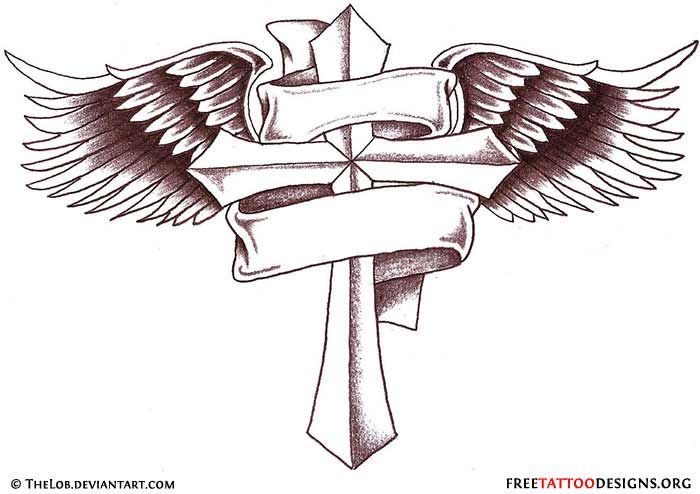 cross tattoo with angel wings and banner tatoos cross pinterest rh pinterest com au Angel Wing Cross with Banner Tattoo Cross with Angel Wings Tattoo Design Outline